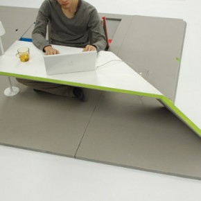 Land Peel: Foldable Floor Mat Turns Into Tables and Chairs