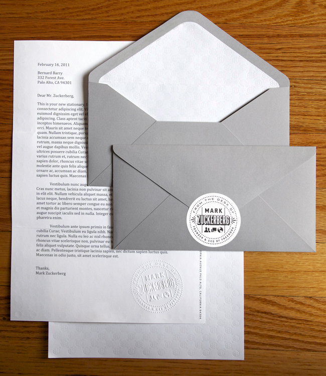 Mark Zuckerberg's Personal Stationery | Jeannie Huang