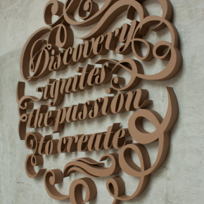 """Discovery Ignites The Passion To Create"": 3D Type in Corrugated Cardboard"