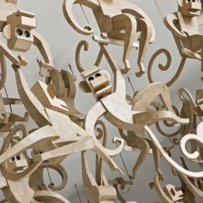 100 Life-Size Cardboard Monkeys and More: Enormous Cardboard Sculptures
