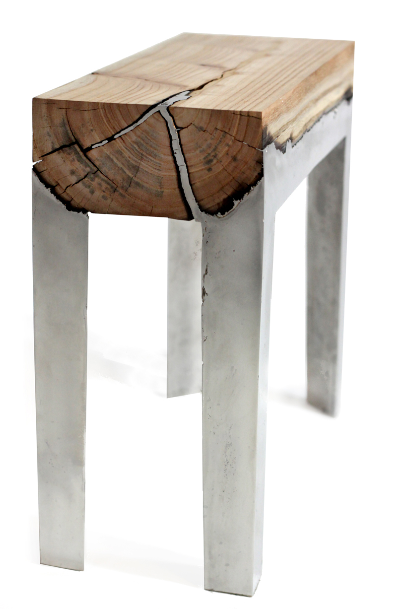 Wood And Metal Furniture Designs : Wood Casting: Rugged Furniture Made By Melding Wood And Metal Together ...