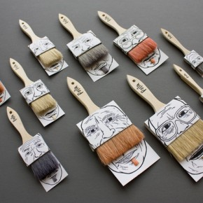 Funny Moustached Paintbrush Packaging