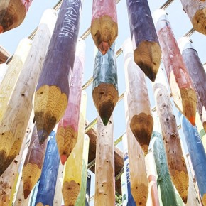 Giant Colored Pencils Dangling Overhead