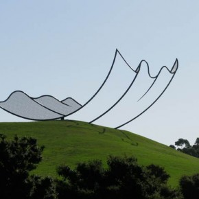 Enormous 2D Sheet of Paper Alighting on a New Zealand Hill