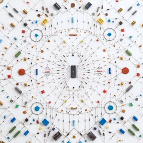 Delicate Electronic Mandalas: Making Patterns with Pieces of Tech Parts